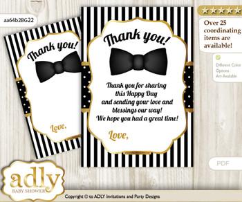 Boy  Bow Tie Thank you Cards for a Baby Boy Shower or Birthday DIY Black Gold, Stripes