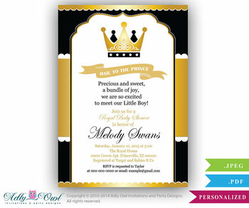 Black Gold Prince Baby Shower invitation for boy,king,golden crown,royal shower- you print - Instant Download