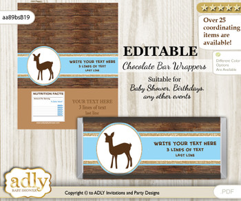 Personalizable Boy Deer Chocolate Bar Candy Wrapper Label for Boy  baby shower, birthday Blue Brown , Wood