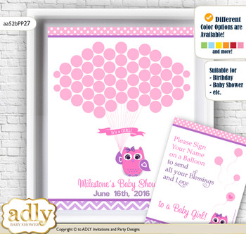 Girl Owl Guest Book Alternative for a Baby Shower, Creative Nursery Wall Art Gift, Purple Pink, Glitter