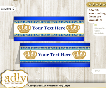 Printable Boy Royal Buffet Tags or Food Tent Labels  for a Baby Shower or Birthday , Blue, Gold