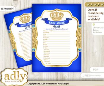 Printable Boy Royal Baby Animal Game, Guess Names of Baby Animals Printable for Baby Royal Shower, Blue, Gold