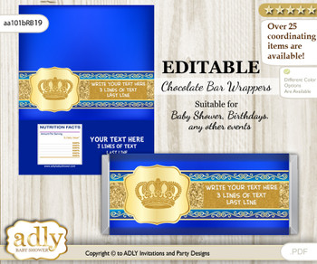 Personalizable Boy Royal Chocolate Bar Candy Wrapper Label for Boy  baby shower, birthday Blue , Gold