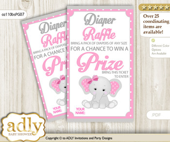 Girl Elephant Diaper Raffle Printable Tickets for Baby Shower, Pink Grey, Polka