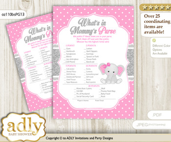 Girl Elephant What is in Mommy's Purse, Baby Shower Purse Game Printable Card , Pink Grey,  Polka