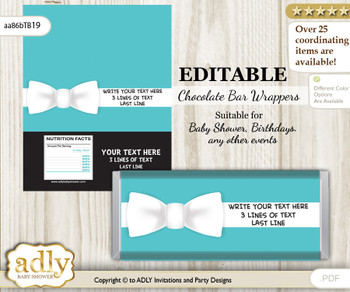 Personalizable Boy Bow tie Chocolate Bar Candy Wrapper Label for Boy  baby shower, birthday White , Tiffany Co