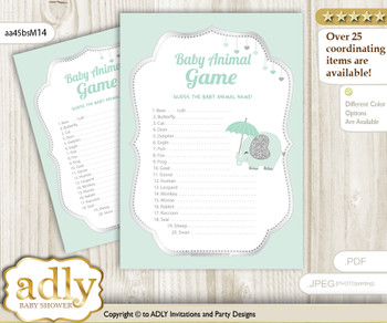 Printable Boy Elephant Baby Animal Game, Guess Names of Baby Animals Printable for Baby Elephant Shower, Mint, Silver
