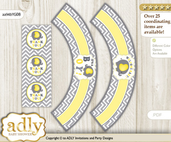 Printable Peanut Elephant Cupcake, Muffins Wrappers plus Thank You tags for Baby Shower Yellow Grey, Chevron
