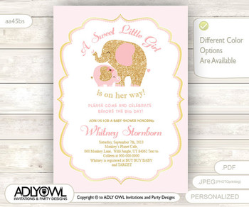 Gold Pink Elephant Baby Shower Invitation card, A sweet Little Girl is on her way, glitter gold, powder pink