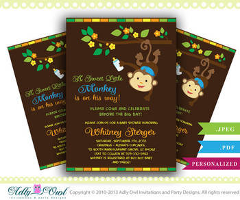 Boy Monkey Baby Shower Invitation card, Cute little monkey boy is on the way card for boy baby shower