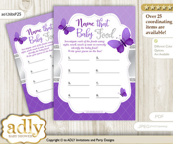 Girl Butterfly Guess Baby Food Game or Name That Baby Food Game for a Baby Shower, Silver Purple
