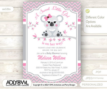 Grey Pink Koala Baby Shower Invitation card, A sweet Little Girl is on her way,gray soft pink printable invitation