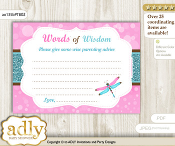 Pink Teal Girl Dragonfly Words of Wisdom or an Advice Printable Card for Baby Shower, Glitter