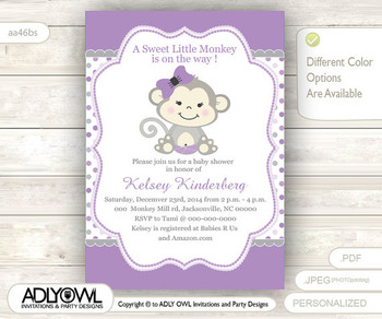 Purple Grey Monkey Baby Shower Invitation card, Cute little monkey girl is on the way card for baby shower,gray