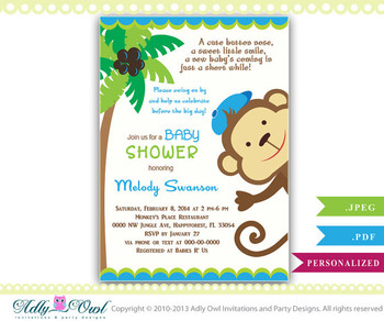 Blue Monkey Baby Shower Invitation card, Cute little monkey boy is on the way card for boy baby shower,jungle