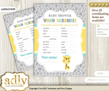 Baby Giraffe Word Scramble Game for Baby Shower