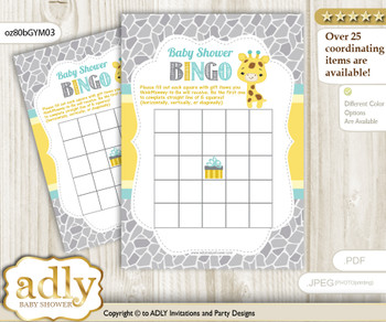 Printable Yellow Mint Giraffe Bingo Game Printable Card for Baby Baby Shower DIY grey, Yellow Mint, Neutral