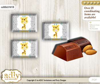 Baby Giraffe Chocolate Nuggets Candy Wrapper Label for Baby Baby Shower  Yellow Mint , Neutral