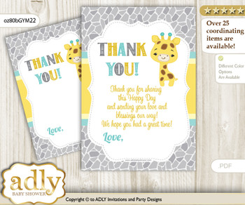 Baby  Giraffe Thank you Cards for a Baby Baby Shower or Birthday DIY Yellow Mint, Neutral