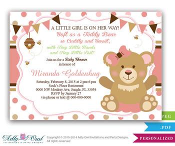 Girl Teddy Bear Baby Shower Invitation card, bee and bear, soft bear shower, tiny feet shower , girl baby shower