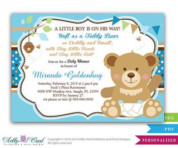 Boy Teddy Bear Baby Shower Invitation card, bee and bear, soft bear shower, tiny feet shower