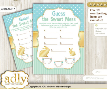 Neutral Bunny Dirty Diaper Game or Guess Sweet Mess Game for a Baby Shower Sage, Polka