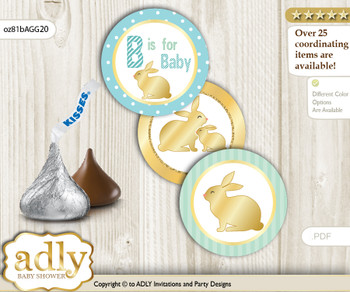 Printable  Neutral Bunny Candy Kisses for Baby Neutral Shower DIY Sage , Polka