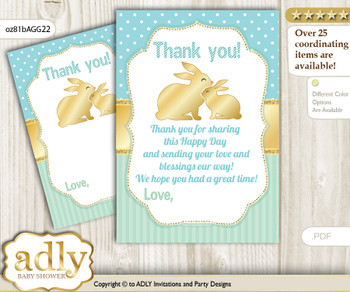 Neutral  Bunny Thank you Cards for a Baby Neutral Shower or Birthday DIY Sage, Polka