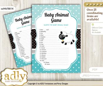 Printable Boy Lamb Baby Animal Game, Guess Names of Baby Animals Printable for Baby Lamb Shower, Turquoise, Polka