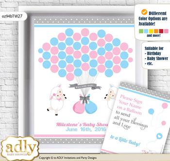 Twins Lamb Guest Book Alternative for a Baby Shower, Creative Nursery Wall Art Gift, Pink Blue, Polka