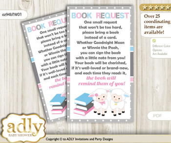 Request a Book Instead of a Card for Twins Lamb Baby Shower or Birthday, Printable Book DIY Tickets, Polka, Pink Blue