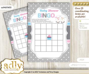 Printable Pink Blue Lamb Bingo Game Printable Card for Baby Twins Shower DIY grey, Pink Blue, Polka