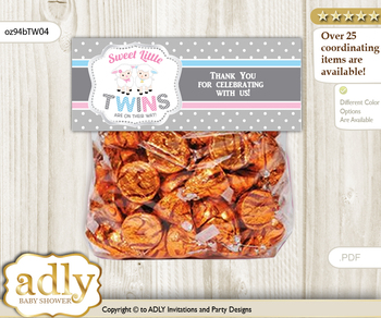 Printable Twins Lamb Treat or Goodie bag Toppers for Baby Twins Shower or Birthday DIY Pink Blue, Polka