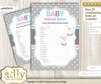 Printable Twins Lamb Baby Animal Game, Guess Names of Baby Animals Printable for Baby Lamb Shower, Pink Blue, Polka