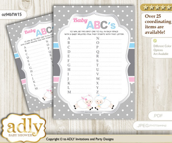 Twins Lamb Baby ABC's Game, guess Animals Printable Card for Baby Lamb Shower DIY – Polka