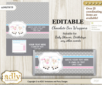 Personalizable Twins Lamb Chocolate Bar Candy Wrapper Label for Twins  baby shower, birthday Pink Blue , Polka