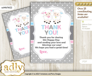 Twins  Lamb Thank you Cards for a Baby Twins Shower or Birthday DIY Pink Blue, Polka