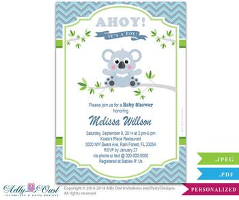 Boy Koala Baby Shower Invitation,Boy Bear baby shower in green, gray, blue chevron