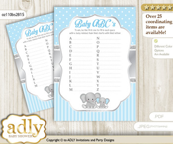 Boy Elephant Baby ABC's Game, guess Animals Printable Card for Baby Elephant Shower DIY – Polka