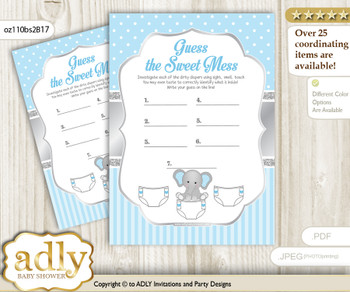 Boy Elephant Dirty Diaper Game or Guess Sweet Mess Game for a Baby Shower Grey Blue, Polka