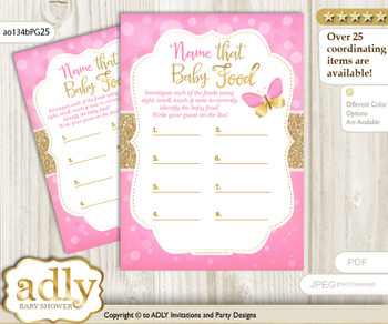 Girl Butterfly Guess Baby Food Game or Name That Baby Food Game for a Baby Shower, Pink Gold Bokeh