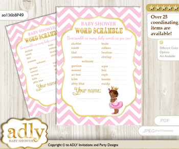 African Princess Word Scramble Game for Baby Shower