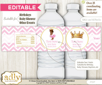 Text Editable African Princess Water Bottle Label, DIY Personalizable Wrapper Digital File, print at home for any event