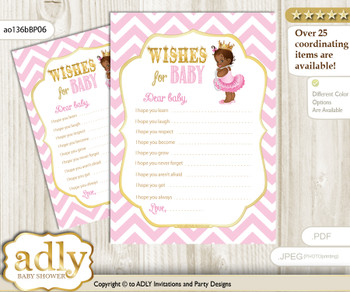 African Princess Wishes for a Baby, Well Wishes for a Little Princess Printable Card, Chevron, Pink Gold