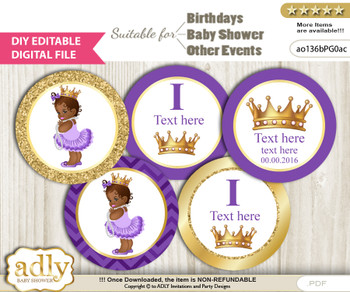 Text Editable African Princess Cupcake Toppers Digital File, DIY print at home, suitable for birthday, baby shower, baptism n