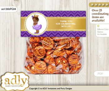 Printable African Princess Treat or Goodie bag Toppers for Baby African Shower or Birthday DIY Purple Gold, Crown