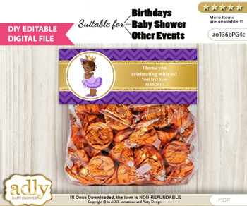 Text Editable African Princess Goodie  Treat Bag Toppers, DIY Favor Bag Digital File, print at home n