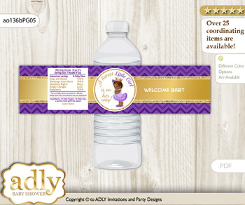 African Princess Water Bottle Wrappers, Labels for a Princess  Baby Shower, Purple Gold, Crown