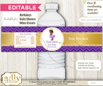 Text Editable African Princess Water Bottle Label, DIY Personalizable Wrapper Digital File, print at home for any event n