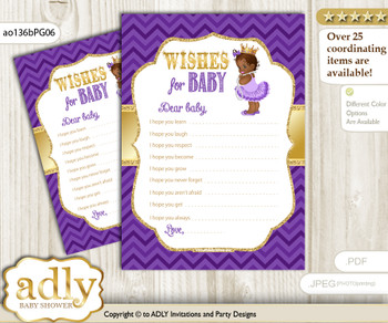 African Princess Wishes for a Baby, Well Wishes for a Little Princess Printable Card, Crown, Purple Gold